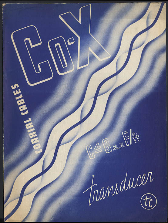 Image for Transducer Corporation Co-X Coaxial Cables brochure 1938