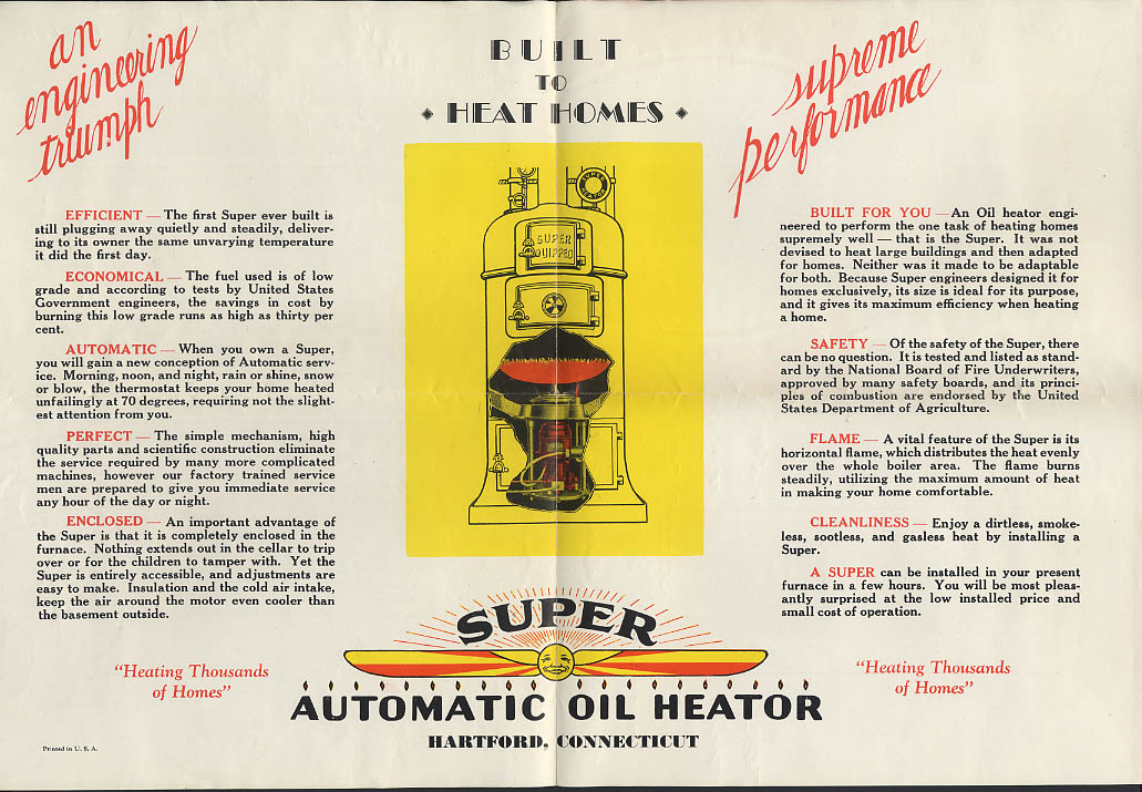 Image for Potter & Johnson Super Oil Heator home oil furnace mailer broadside ca 1920s