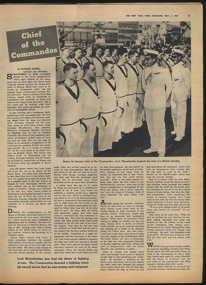 Image for NY TIMES MAGAZINE 5/3 1942 Lord Mountbatten; Inside Germany?