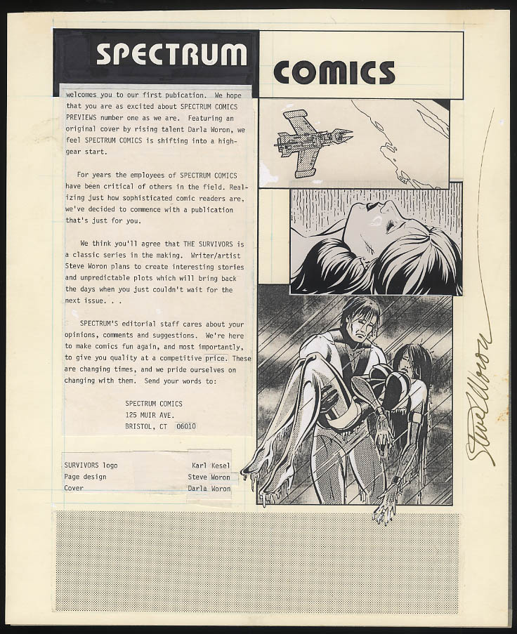 Image for SIGNED Steve Woron original comic book art 1st issue of Spectrum Comics 1984