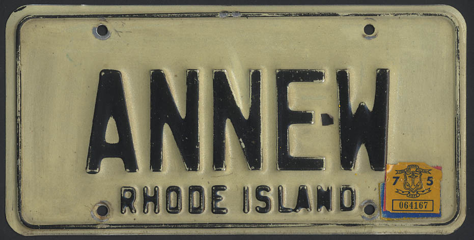 Image for Rhode Island vanity license plate ANNE-W 1975 tag