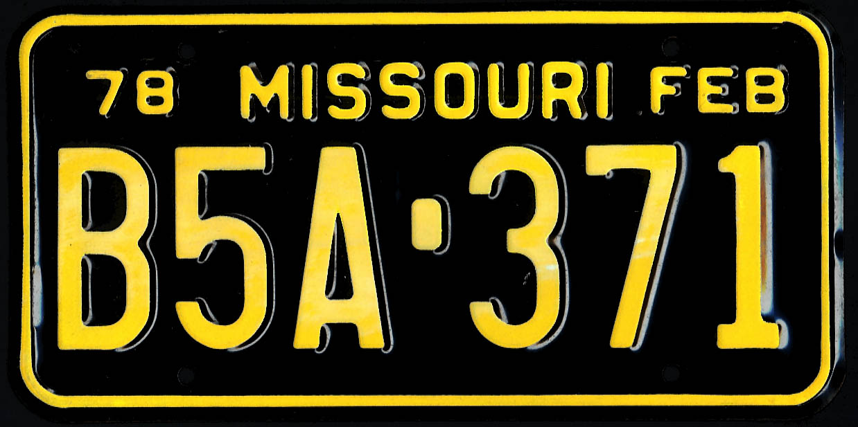 Image for PAIR Missouri license plates 1978 B5A-371 used