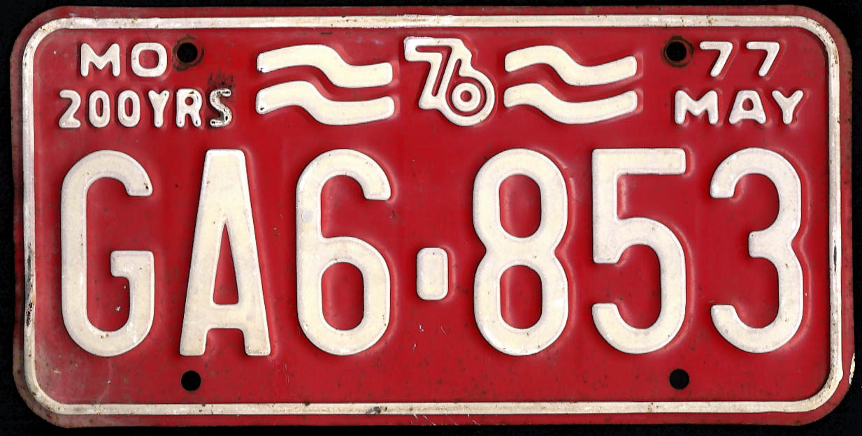 Image for Missouri license plate 200 YRS 76 1977 GA6-853 used