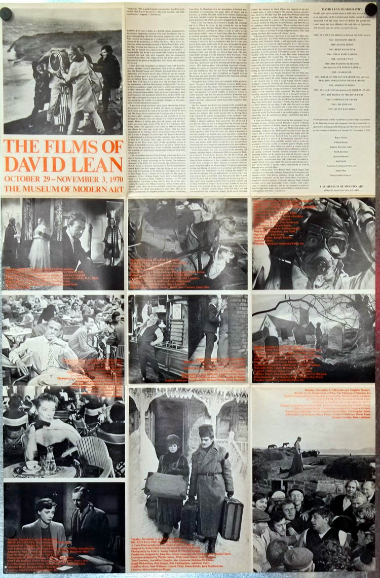 Image for Films of David Lean Museum of Modern Art poster 1970