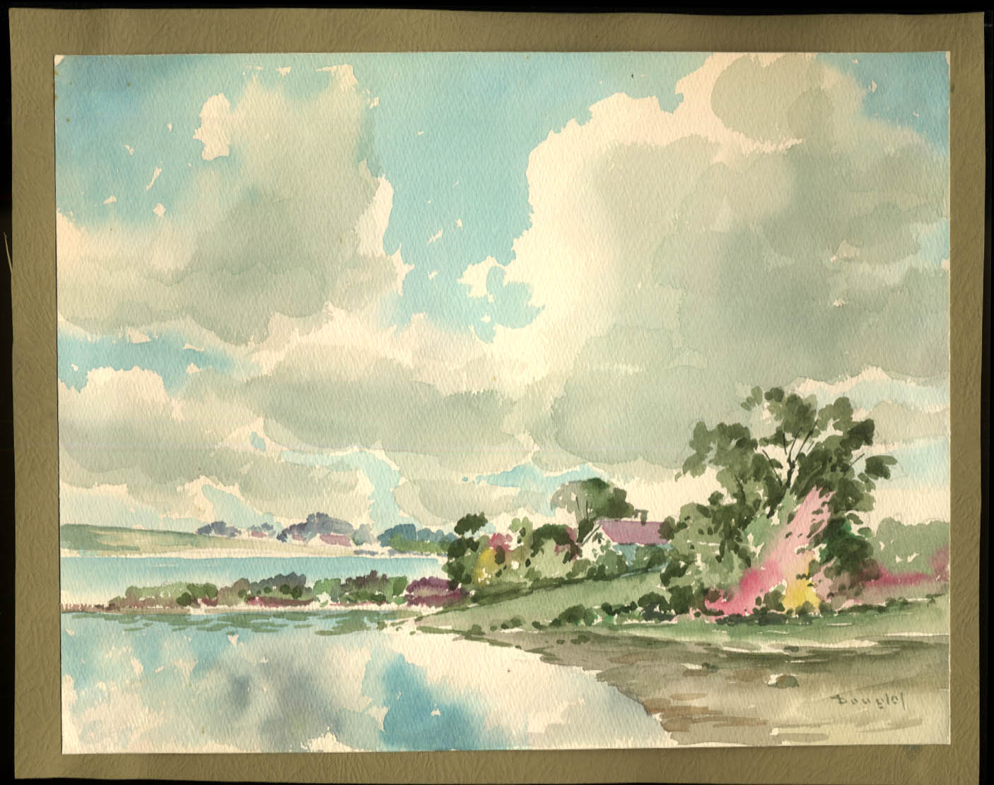 Image for Arthur S Douglas original watercolor House on the Pawtuxet ca 1930s