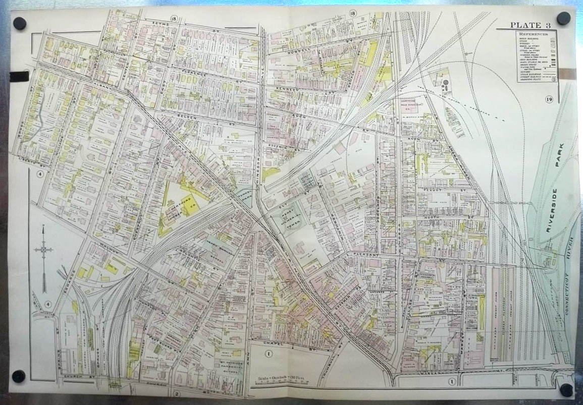 Image for 1909 Hartford CT Map: RR Yards; Keney Tower; Lumber Co; Smith Northam ++