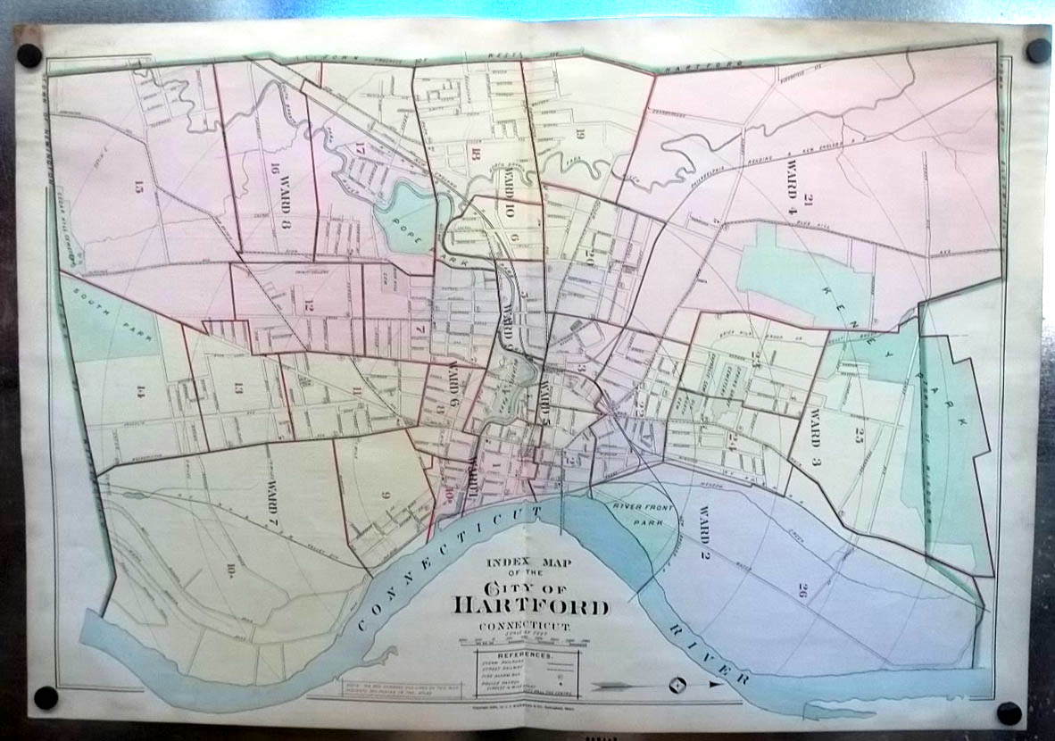 Image for 1896 Hartford CT Map Ward Map Key to Atlas: Bushnell Park Trinity College +