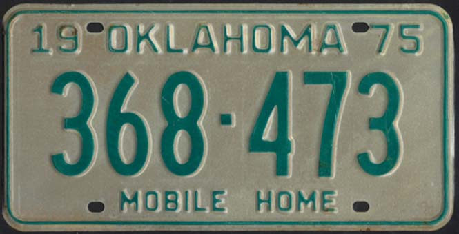 Image for State of Oklahoma Mobile Home License Plate 368-473 1975