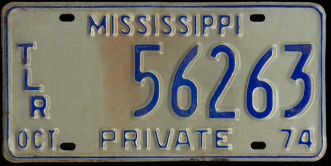 Image for State of Mississippi Private Trailer License Plate TLR 56263 10 1974