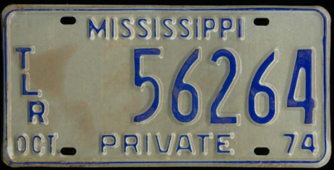 Image for State of Mississippi Private Trailer License Plate TLR 56264 10 1974