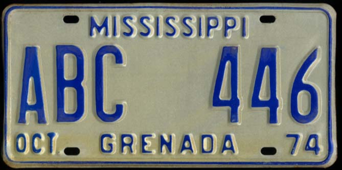 Image for State of Mississippi Automobile License Plate ABC 446 Grenada County 10 1974