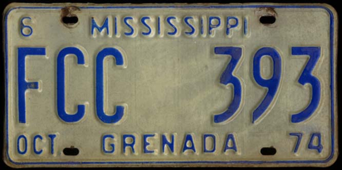 Image for State of Mississippi Automobile License Plate FCC 393 Grenada County 10 1974