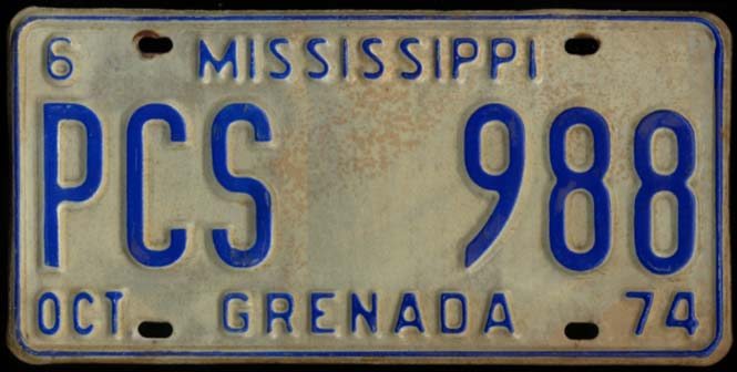 Image for State of Mississippi Automobile License Plate PCS 988 Grenada County 10 1974