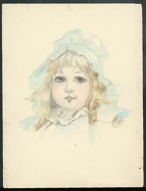 Image for Florence Litchfield pastel & watercolor of little blonde girl in bonnet ca 1910