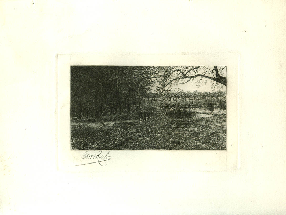 Image for From Under the Trees etching George Wistar Hodge Ritchie 1883