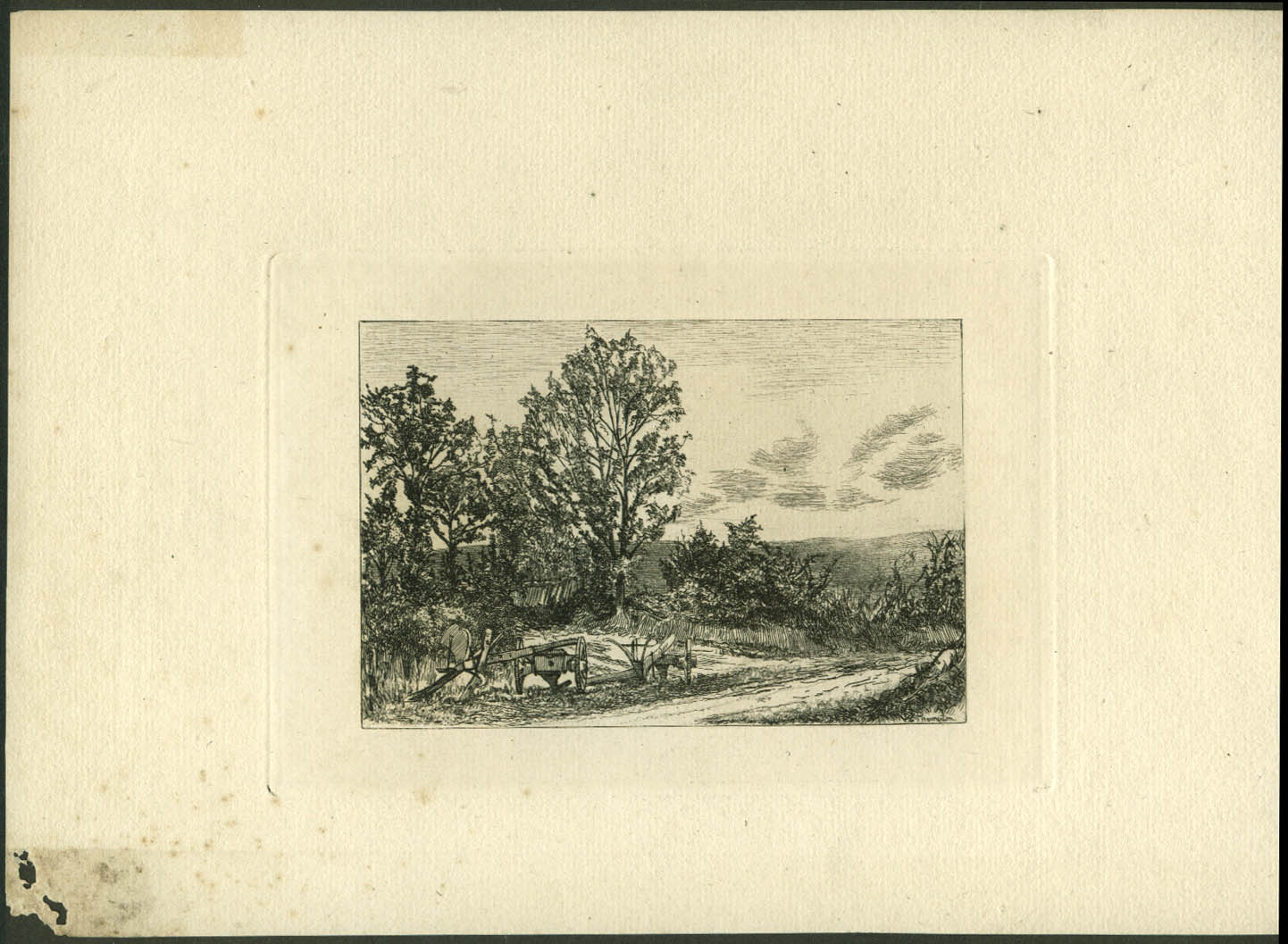 Image for Ploughs Left in Lane etching by Philip Gilbert Hamerton ca 1860s