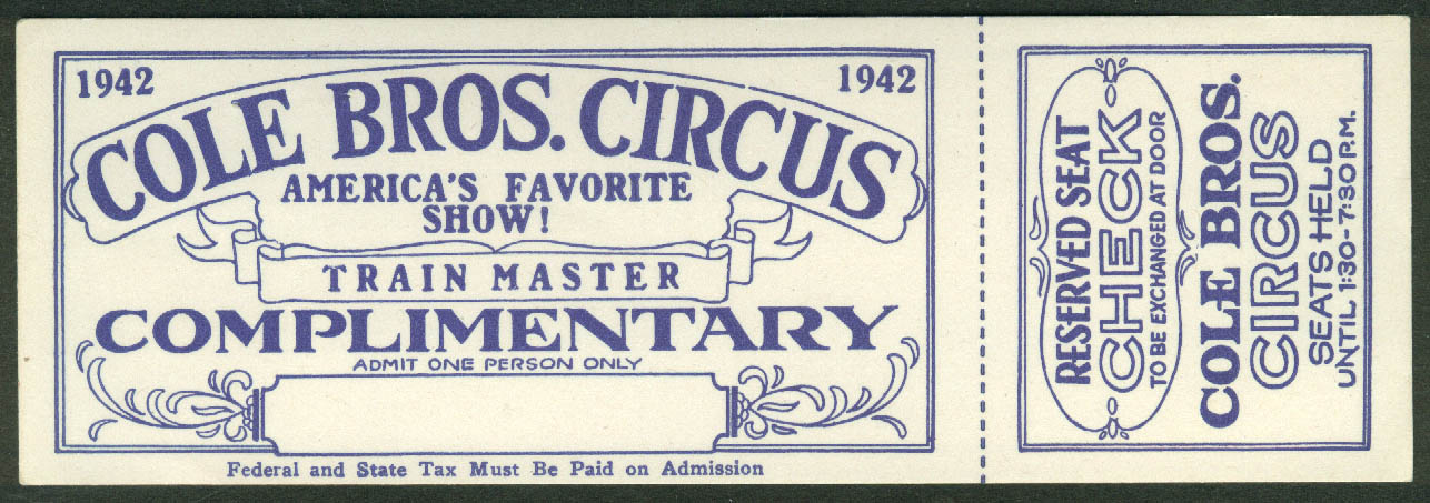 Image for Cole Bros Circus Train Master Complimentary Reserved Seat ticket 1942