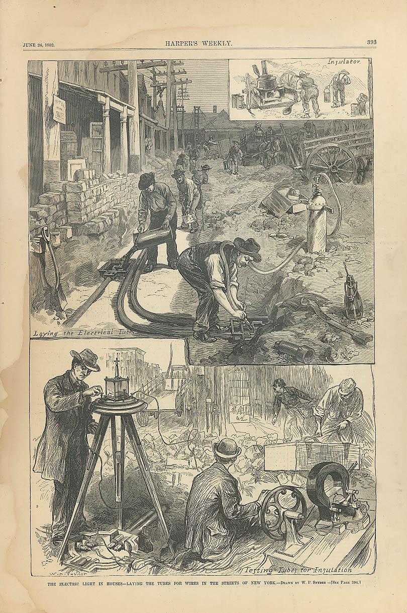 Image for Electrifying New York Homes Harper's Weekly 1882