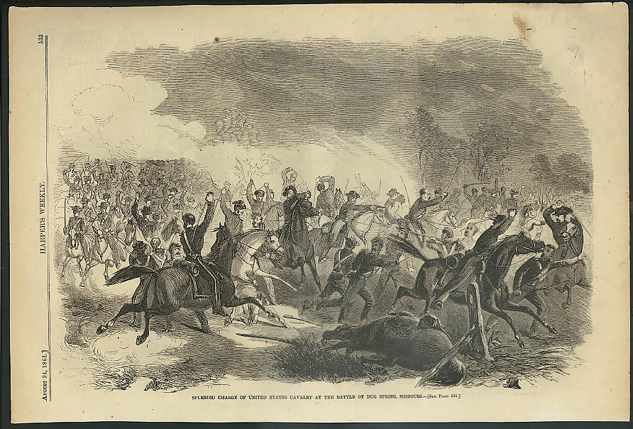 Image for Cavalry Charge at Battle of Dug Spring MO Harper's Weekly ORIGINAL 8/24 1861