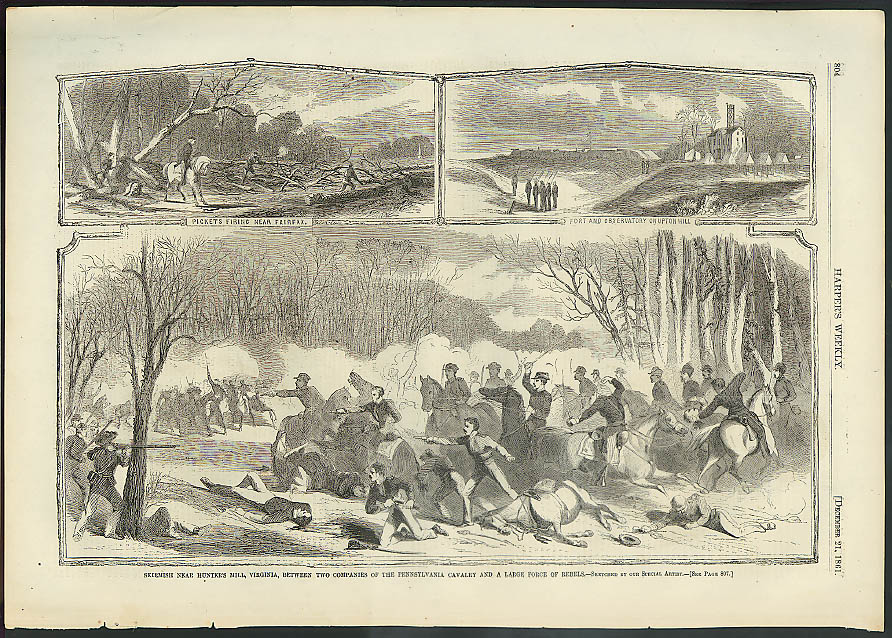 Image for Hunter's Hill skirmish PA Cavalry v rebels Harper's Weekly ORIGINAL 12/21 1861