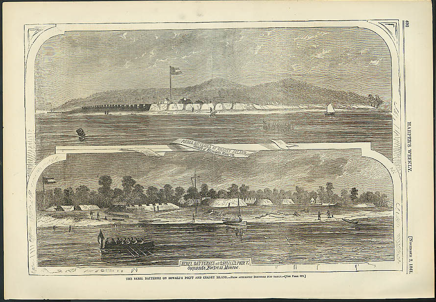 Image for Rebel batteries Craney Island Sewall's Point Harper's Weekly ORIGINAL 11/2 1861