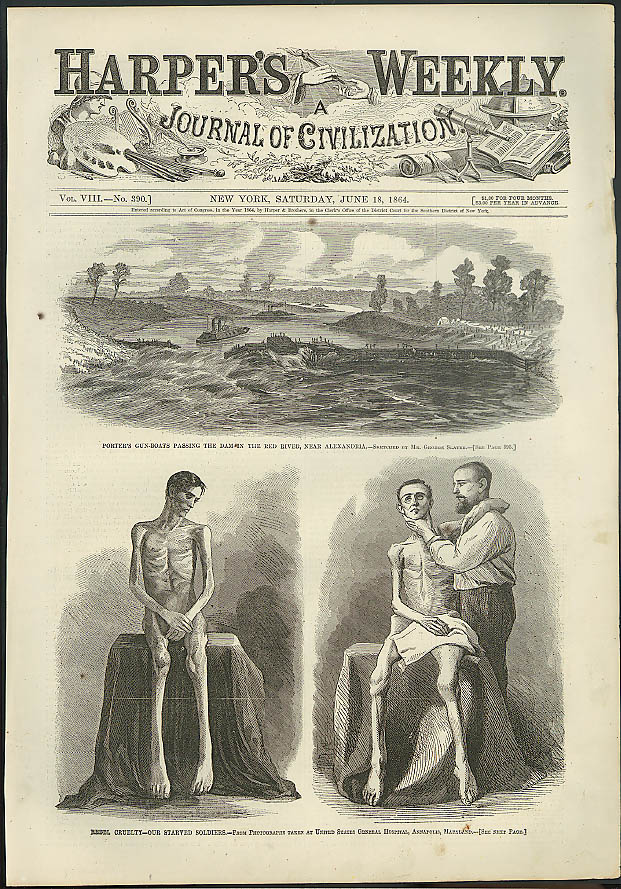Image for Soldiers starved by rebels; Porter's gunboats Harper's Weekly ORIGINAL 6/18 1864