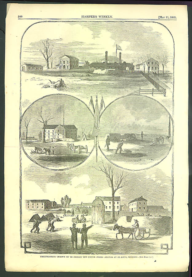 Image for Battery Camp NYC Central Park Barracks / St Louis Fortified HARPER'S WEEKLY 1861