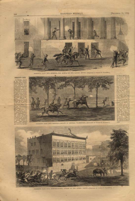 Image for Harper's Weekly ORIGINAL Forrest's Raid of Memphis Washburne's escape 9/10 1864