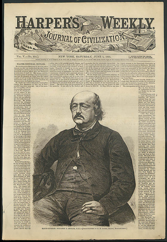 Image for Major-General Benjamin F Butler by G H Loomis HARPER'S WEEKLY cover 6/1 1861