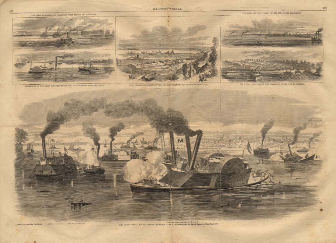 Image for Harper's Weekly ORIGINAL Naval Battle for Memphis six views of action 6/28 1862