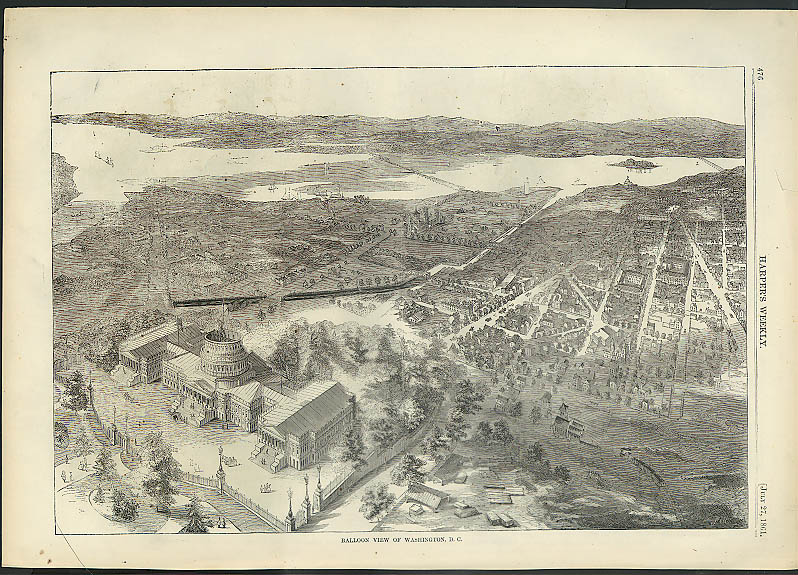 Image for Hoke's Run / Lt Hall's Cannon / Washington DC fr Balloon HARPER'S WEEKLY 1861