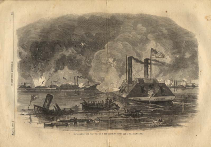 Image for Harper's Weekly ORIGINAL Naval Battle Ft Wright TN / British ironclads 5/31 1862