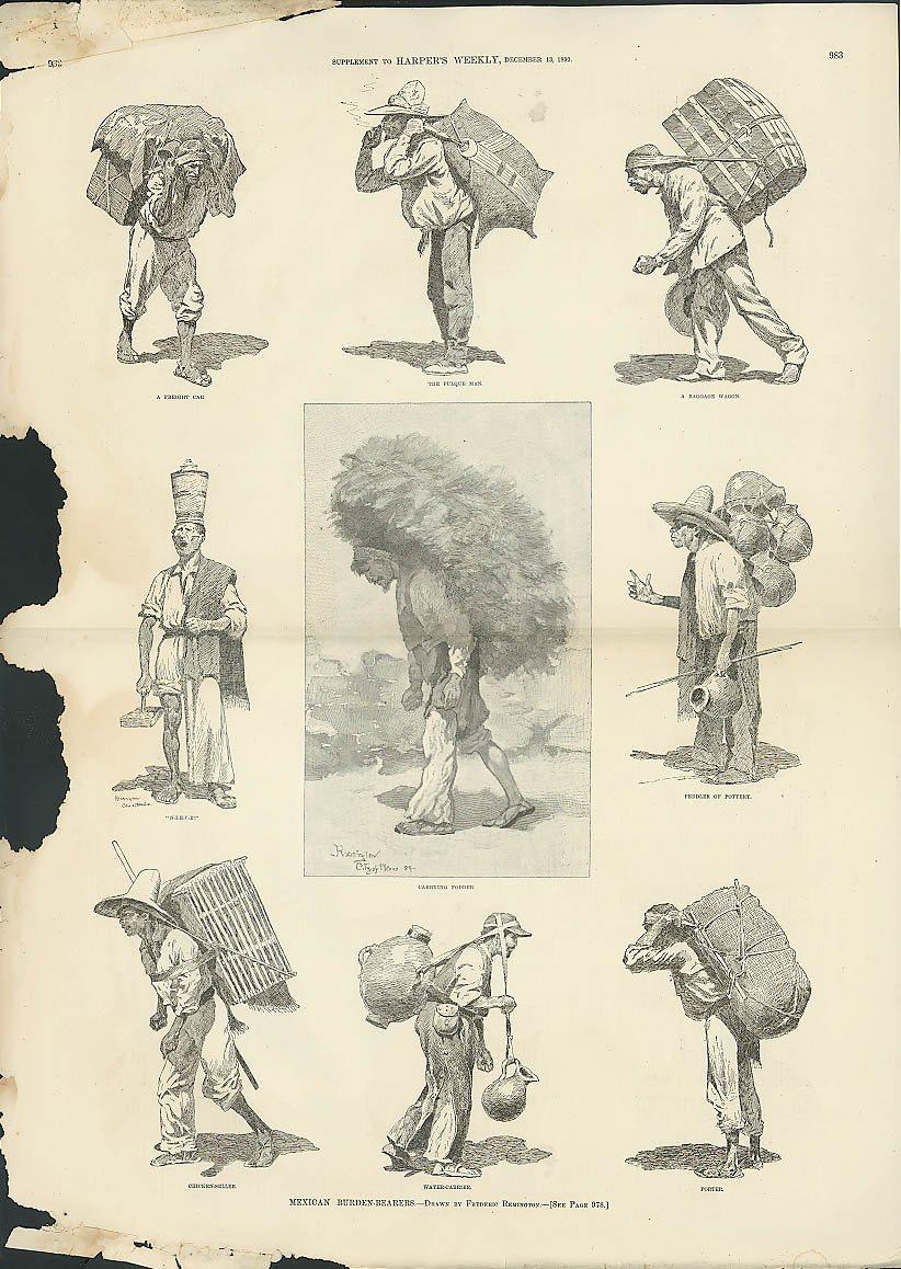 Image for Mexican Burden-Bearers by Frederic Remington HARPER'S WEEKLY page 12/13 1890