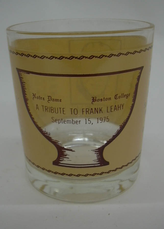 Image for Football coach Frank Leahy Notre Dame Boston College Tribute souvenir glass 1975