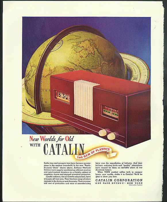 Image for New worlds for old with Catalin Plastics ad 1940 Martinek Radio-Numeral Clock