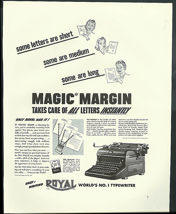 Image for Magic Margin takes care of all letters instantly Royal Typewriter ad 1940