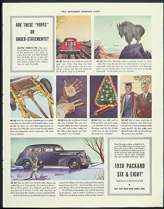"Image for Are these ""puffs"" or under-statements? Packard Town Sedan ad 1938"