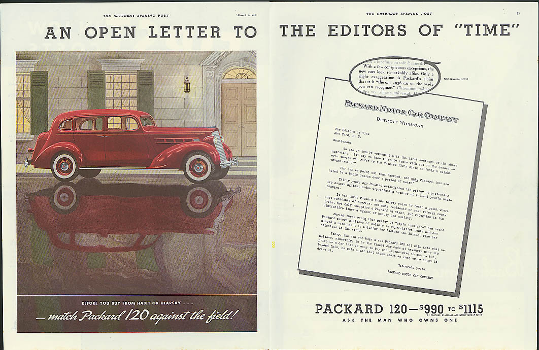 Image for An Open Letter to the Editors of TIME Packard 120 ad 1936