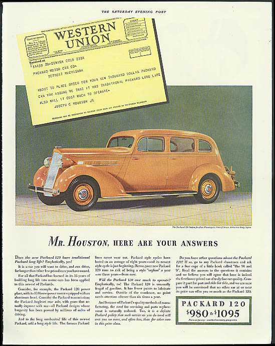 Image for Mr Houston, here are your answers Packard 120 Sedan ad 1935