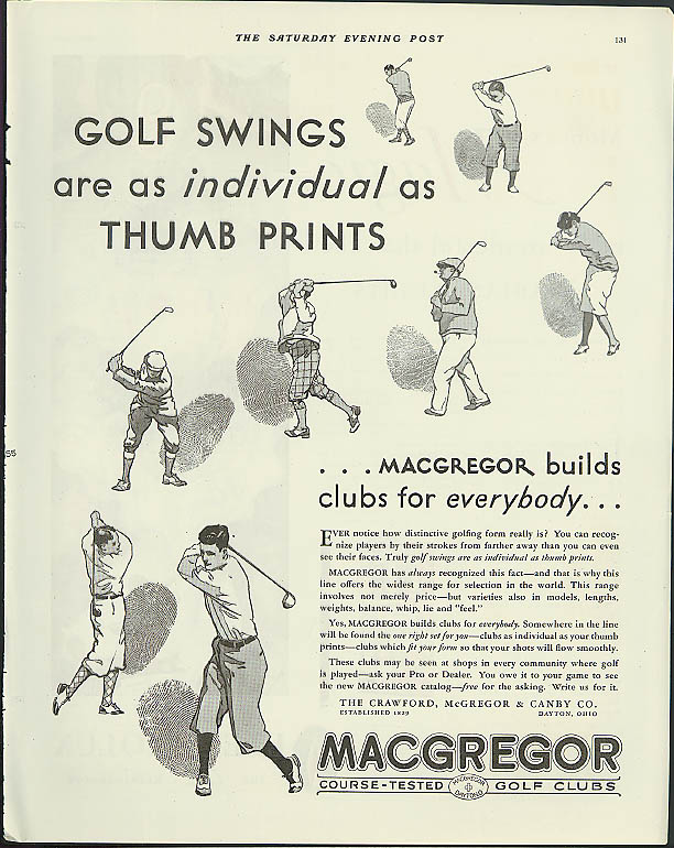 Image for Golf swings as individual as thumb prints Macgregor Golf Clubs ad 1931