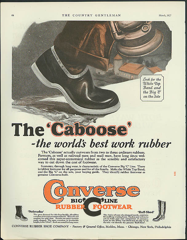 Image for The Caboose World's Best Work Rubber Converse Rubber Footwear ad 1927