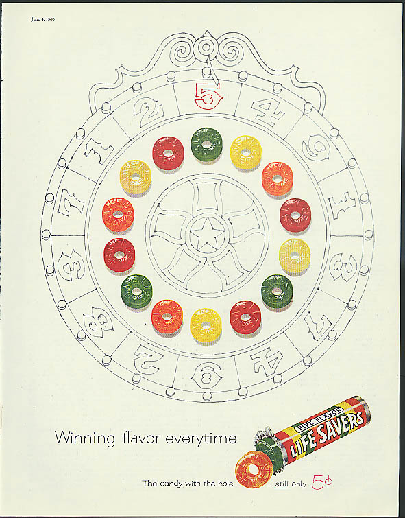 Image for Winning flavor everytime Life Savers Candy ad 1960 wheel of fortune