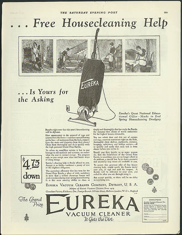 Image for Free Housecleaning Help is yours Eureka Vacuum Cleaner ad 1925