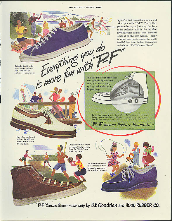 Image for Everything you do is more fun with P-F Canvas Shoes Goodrich Hood Rubber ad 1947
