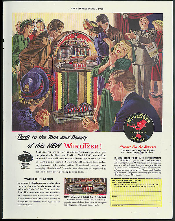 Image for Thrill to the Tone & Beauty of this new Wurlitzer Jukebox ad 1947