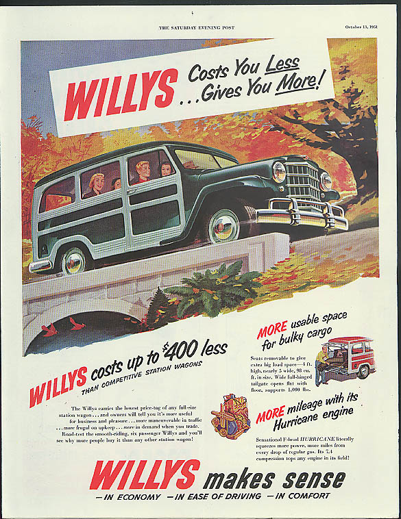 Image for Willys Jeep Station Wagon Costs You Less - Gives You More ad 1951