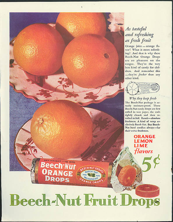 Image for As tasteful & refreshing as fresh fruit Beech-Nut Orange Drops candy ad 1920s