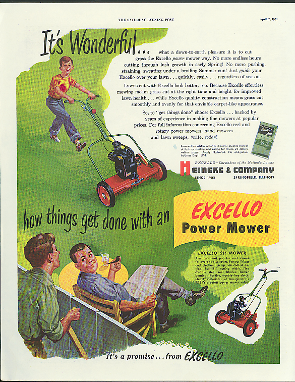 Image for It's wonderful how things get done with an Excello Power Mower ad 1951