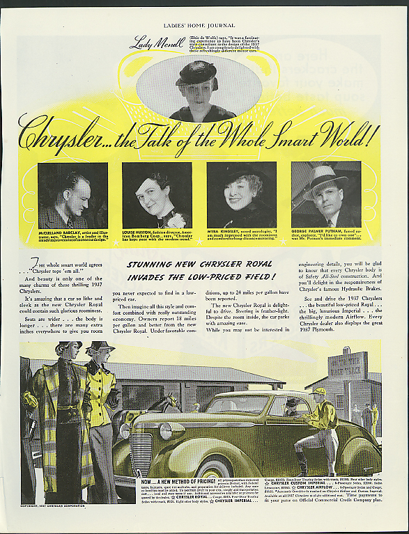 Image for The Talk of the Whole Smart World! Chrysler Royal Convertible Coupe ad 1937