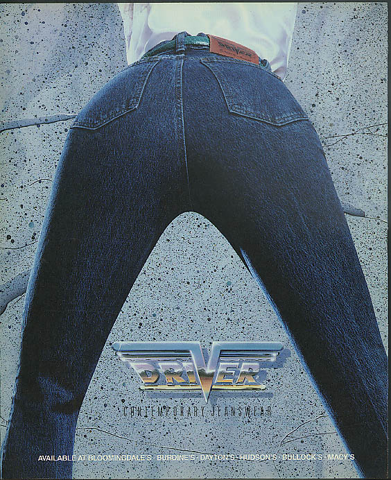 Image for Driver Contemporary Jeanswear designer jeans ad 1988 rear view legs spread